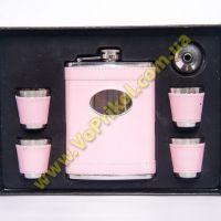 Набор фляга - 4 рюмки - Розовый гламурчик