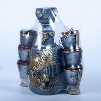 """Бутылка-штоф керамическая """"Охота на птицу""""+6 рюмок"""