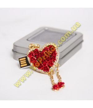 Флешка - ювелирная - 8 gb - Сердце со стразами